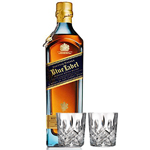 JOHNNIE WALKER BLUE LABEL CUSTOM ENGRAVED BOTTLE WITH 2 MARQUIS BY WATERFORD GLASSES