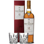 THE MACALLAN SHERRY OAK 12 YEAR OLD SINGLE MALT WITH 2 MARQUIS BY WATERFORD GLASSES