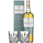 THE MACALLAN FINE OAK 15 YEAR OLD SINGLE MALT WITH 2 MARQUIS BY WATERFORD GLASSES