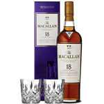 THE MACALLAN SHERRY OAK 18 YEAR OLD SINGLE MALT WITH 2 MARQUIS BY WATERFORD GLASSES