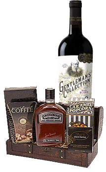 SOPHISTICATED GENTLEMAN GIFT BASKET WITH GENTLEMAN'S COLLECTION RED WINE