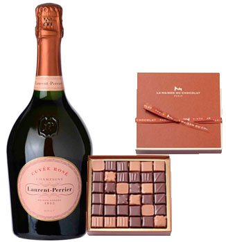 LA MAISON DU CHOCOLAT PRALINE GIFT BOX WITH LAURENT PERRIER CHAMPAGNE
