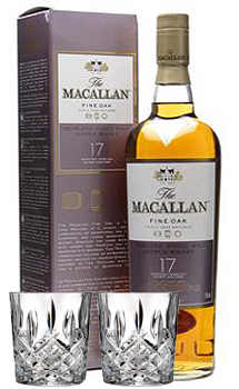 THE MACALLAN 17 YEAR OLD SINGLE MALT FINE OAK WITH 2 MARGUIS BY WATERFORD GLASSES