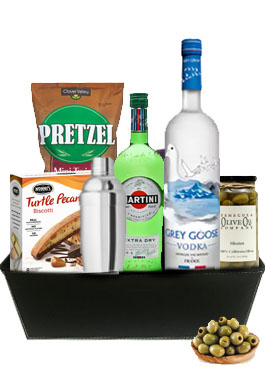 A MARVELOUS GREY GOOSE MARTINI GIFT BASKET
