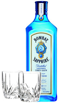 BOMBAY SAPPHIRE GIN WITH 2 MARQUIS BY WATERFORD GLASSES