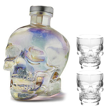 CRYSTAL HEAD VODKA AURORA LIMITED EDITION -750ML 2 CRYSTAL SKULL SHOT GLASSES