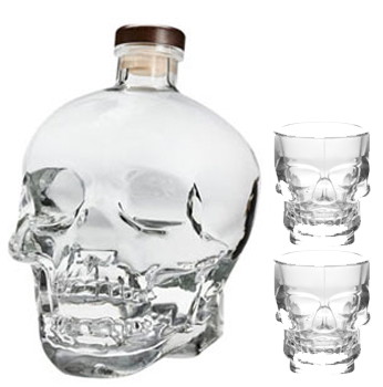 CRYSTAL HEAD VODKA - 1.75L WITH 2 CRYSTAL SKULL SHOT GLASSES