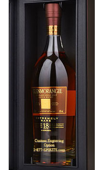 GLENMORANGIE EXTREMELY RARE 18 YEARS OLD SINGLE MALT SCOTCH WHISKY CUSTOM ENGRAVGED