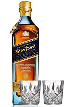 CUSTOM ENGRAVED JOHNNIE WALKER BLUE LABEL SCOTCH WITH 2 MARQUIS BY WATERFORD GLASSES