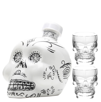 KAH TEQUILA BLANCO WITH 2 CRYSTAL SKULL SHOT GLASSES