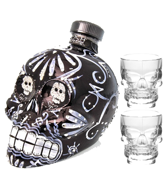 KAH TEQUILA EXTRA ANEJO WITH 2 CRYTAL SKULL SHOT GLASSES