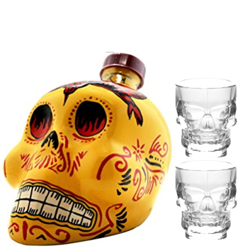 KAH TEQUILA REPOSADO WITH 2 CRYSTAL SKULL SHOT GLASSES