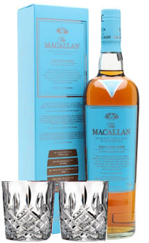 SOLD OUT - THE MACALLAN SINGLE MALT SCOTCH NO 6 - 750ML WITH 2 WATERFORD MARQUEE GLASSES