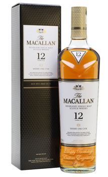 THE MACALLAN 12 YEAR OLD SINGLE MALT -750ML SHERRY OAK - CUSTOM ENGRAVED