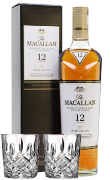 THE MACALLAN 12 YEAR OLD SINGLE MALT SHERRY OAK WITH 2 MARQUIS BY WATERFORD GLASSES