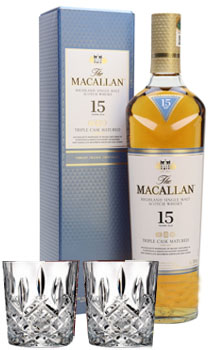 THE MACALLAN 15 YEAR OLD SINGLE MALT -750ML TRIPLE CASK MATURED WITH 2 MARQUIS BY WATERFORD GLASSES
