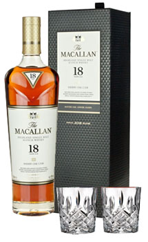 THE MACALLAN 18 YEAR OLD SINGLE MALT -750ML TRIPLE CASK WITH 2 MARQUIS BY WATERFORD GLASSES