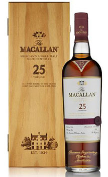 THE MACALLAN 25 YEAR OLD SINGLE MALT SHERRY OAK - CUSTOM ENGRAVED