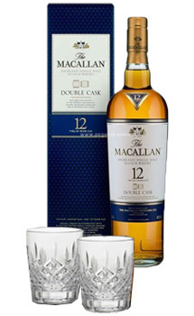 THE MACALLAN 12 YEAR OLD SINGLE MALT DOUBLE CASK WITH 2 MARGUIS BY WATERFORD GLASSES