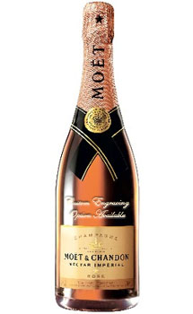 MOET & CHANDON CHAMPAGNE NECTAR ROSE IMPERIAL CUSTOM ENGRAVED