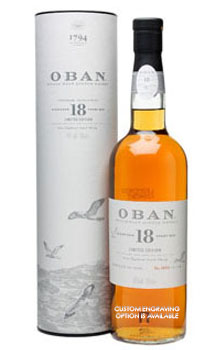 OBAN 18 YEAR OLD SINGLE MALT LIMITED EDITION - CUSTOM ENGRAVED'