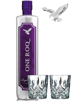 ONE ROQ VODKA LOGANBERRY WATERFORD MARQUEE GLASSES COLLABORATION