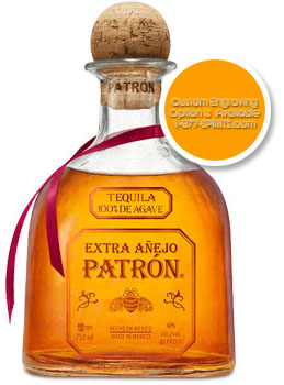PATRON TEQUILA EXTRA ANEJO - CUSTOM ENGRAVED