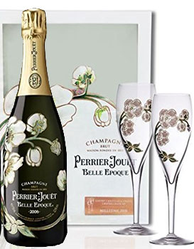 PERRIER JOUET BELLE EPOQUE CHAMPAGNE GIFT SET WITH 2 FLUTES