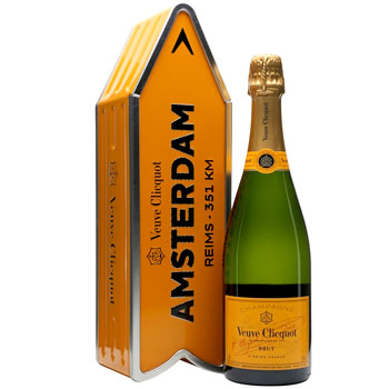 VEUVE CLICQUOT ARROW TIN AMSTERDAM REIMS CHAMPAGNE JOURNEY STREET SIGN - LIMITED EDITION