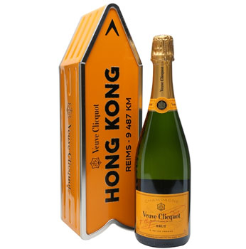 VEUVE CLICQUOT ARROW TIN HONG KONG REIMS CHAMPAGNE JOURNEY STREET SIGN - LIMITED EDITION