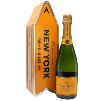 VEUVE CLICQUOT ARROW TIN NEW YORK REIMS CHAMPAGNE JOURNEY STREET SIGN - LIMITED EDITION
