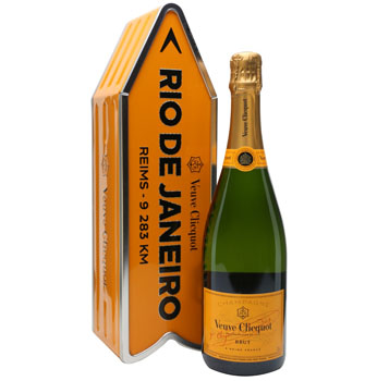 VEUVE CLICQUOT ARROW TIN RIO DE JANEIRO REIMS CHAMPAGNE JOURNEY STREET SIGN - LIMITED EDITION