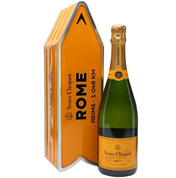 VEUVE CLICQUOT ARROW TIN ROME REIMS CHAMPAGNE JOURNEY STREET SIGN - LIMITED EDITION