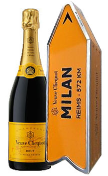 VEUVE CLICQUOT ARROW TIN MILAN REIMS CHAMPAGNE JOURNEY STREET SIGN - LIMITED EDITION