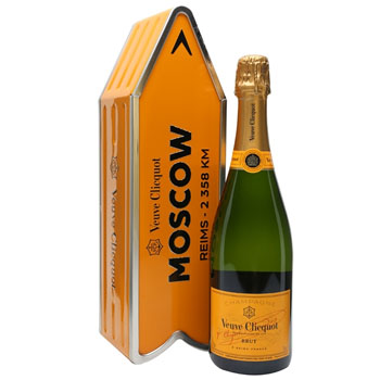 VEUVE CLICQUOT ARROW TIN MOSCOW REIMS CHAMPAGNE JOURNEY STREET SIGN - LIMITED EDITION